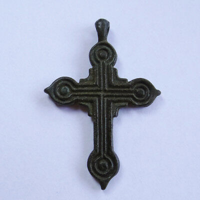 Byzantine Ancient Artifact Bronze Cross Double Sides