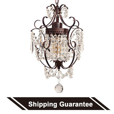 Starthi Wrought Iron Crystal Mini Chandelier, Antique Bronze Pendant Light
