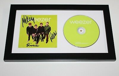 WEEZER BAND SIGNED FRAMED 2001 GREEN CD COVER w/COA ALBUM x4 RIVERS CUOMO