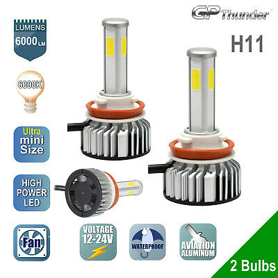 2x Cree LED Headlight Kit H8 H9 H11 6000K Low Beam Fog Bulb w/Metal Clamp White