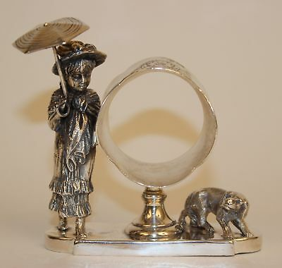 Rare James Tuft's Silverplate Napkin Ring Kate Greenaway W/umbrella & Dog