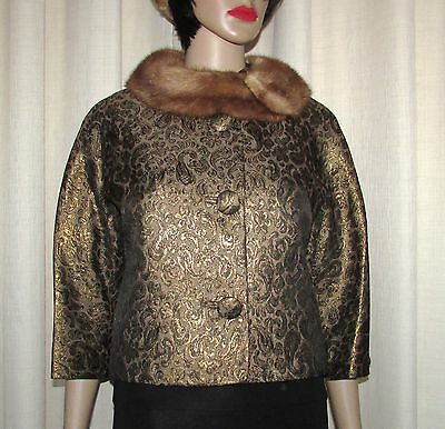 Vtg  Chic Retro Short Green Brocard/mink Fur Collar Jacket  Fur Coat  Bust39