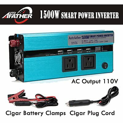Car power inverter converter 1500-3000W DC 12V - AC 120V 4 USB caravan road trip