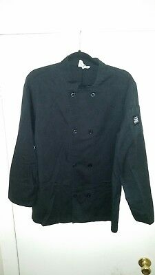 Chef Revival Men's Chef Cook Coat Black Slit Cuffs Double Breasted Medium Clean