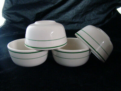 4 Buffalo China Green Striped Bouillon Cups or  Bowls New Unused Condition