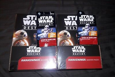 2 x Star Wars Destiny Awakenings New Sealed Booster Box + 2 Bonus Packs