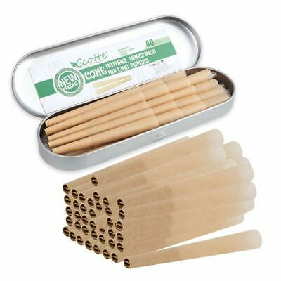 40 Pre-Rolled Cones 1 1/4 Size Organic Cigarette Rolling Papers With Tips (40)