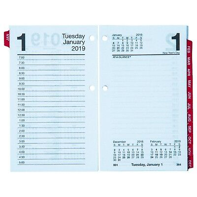 2019 At-A-Glance E717T-50 Daily Calendar Refill With Monthly Tabs, 3-1/2x5-27/32