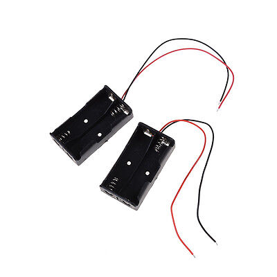 "2 pcs Plastic Battery Storage Case Box Holder for 2 x AA with 6"" Wire Lead LJ"