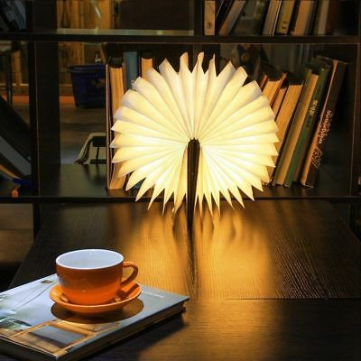 Wooden Warm White LED Folding Book Light USB Rechargeable Table Lamp Magnetic#US