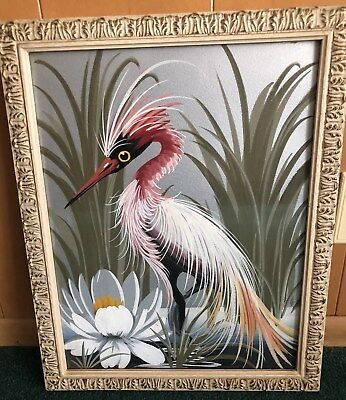 RARE & EXCEPTIONAL Art Deco Original Oil On Canvas Framed Water Bird Painting!
