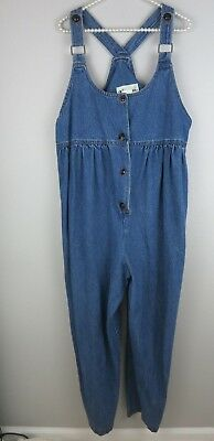MAMA MIA Denim Maternity Overalls Modest Vintage LARGE E19