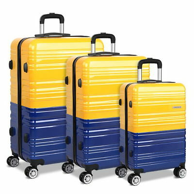 3 Piece Lightweight Hard Shell Travel Luggage Suit Case - Yellow & Purple