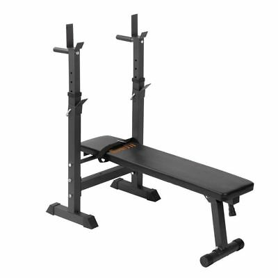 330lbs Foldable Bench Press Squat Rack Flat Gym Fitness Home Exercise Station