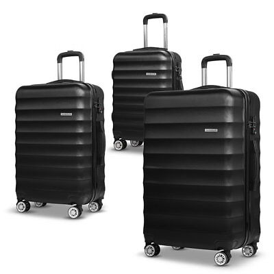 3pcs Hard Shell Lightweight Travel Luggage with TSA Lock Suit Case - Black