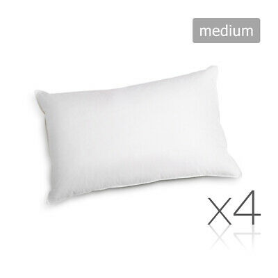 4 x Bed Pillows Set Soft Medium Cotton Cover Family Hotel