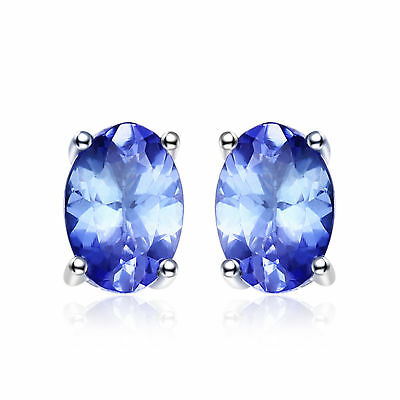 JewelryPalace New Solid 925 Sterling Silver 1ct Natural Tanzanite Stud Earrings
