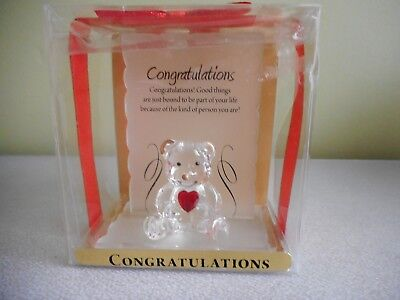 "Teddy With Red Heart Hand Blown Art Glass Clear Nwt ""congratulations""  In Box"