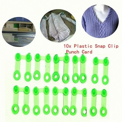 10Pcs Plastic Green Snap Clip Punch Card For Brother SReed Knitting Machine WS