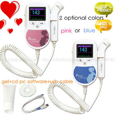 Pocket Handheld Fetal Doppler Baby Heart Monitor, usb pc software+gel,2mhz probe