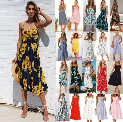 UK Womens Holiday Strappy Pocket Ladies Summer Beach Casual Bandeau Floral Dress