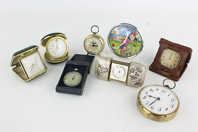 8  vintage handwind travel / alarm clocks inc Smiths, 8 Days & Rhythm FOR REPAIR