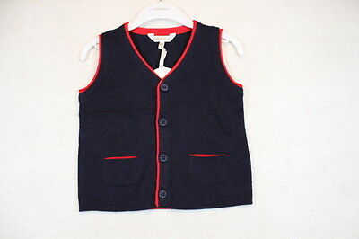 Baby Boy Size 00,2 Fox & Finch Winter Navy Knitted Vest NWT