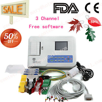 ECG300G 3 Channel 12 lead ECG EKG machine + USB+ PC software Electrocardiograph