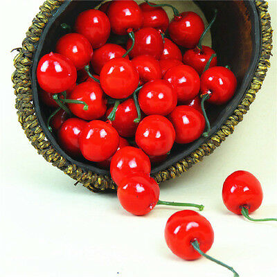 20Unid Artificial Fake Cherry Fruit Food Party Wedding House Home Craft Decor SE
