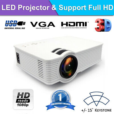 8000 lumens Outdoor LED Full HD Video Projector Home Theatre HDMI USB VGA SD