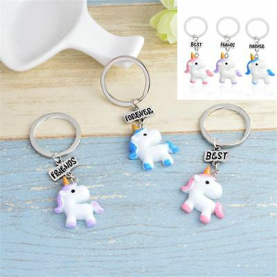 3Pcs Best Friend Forever Unicorn Keychain for Children Girls Jewelry Gifts