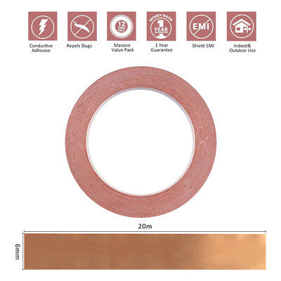 1X 6mm * 20m COPPER FOIL SHIELDING TAPE LOW IMPEDANCE CONDUCTIVE ADHESIVE