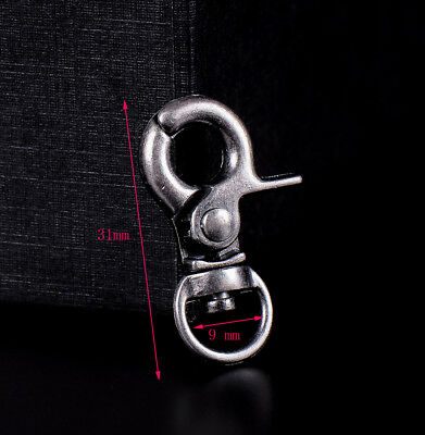 5x Silver Swivel Trigger Clip Lobster Clasp Snap Hook Bag Key Ring Wallet Chain
