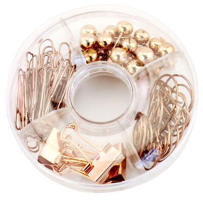 65 Pc/Set Clip Box With Rose Gold  Clips and Pins 9.8cm( dm) Metal Plastic W9T3