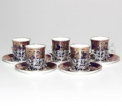 Copeland Spode, 5 X Coffee Cans With Solid Silver Cherub Holders.