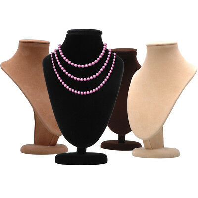 Bust Necklace Jewelry Pendant Display Chain Form Stand Holder Neck Velvet 4pcs