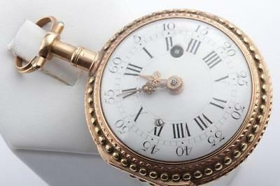 Spindel Taschenuhr antik Paris um 1770 mit Viertel Repetition 750 Gold Quart