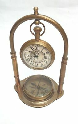 Brass Working Desktop Clock Vintage With Working Compass Home Office Decor Gift