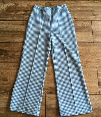 Vintage Retro Pants Bell Bottoms Blue White Checkered Polyester Women's12 Sears