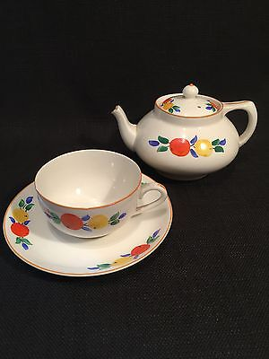 Vintage Crown Ducal Ware Art Deco Orange & Lemon Design Tea Pot Cup & Saucer