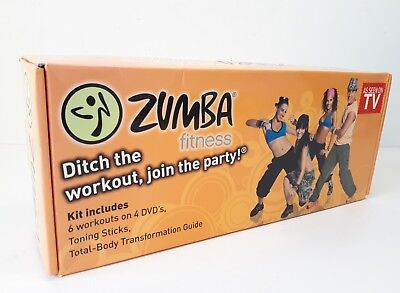 Zumba Fitness Kit Boxed Set With Toning Sticks & 4 Dvd's Contents Sealed