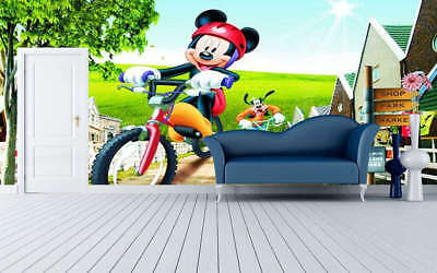 Cycling Of Mickey Mouse 3D Full Wall Mural Photo Wallpaper Print Home Kids Decor