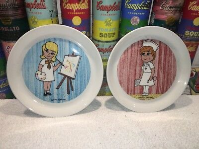 (2) Vtg Holiday Inn Shenango Restaurant Ware Child's Plates - Nurse & Artist