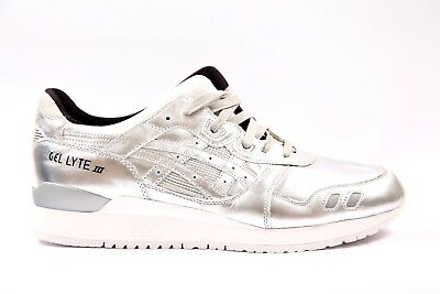 1275d085140a Mens Womens Asics Gel Lyte III Silver HL504 9393 Lace Up Casual Trainers