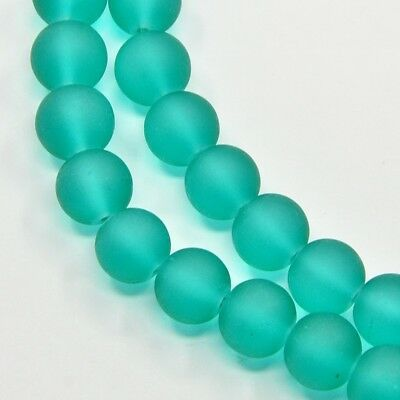 Strand 140+ 6mm Frosted Sea Green Glass Plain Round Beads UK