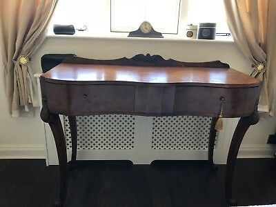 Burr wood veneer art deco console dressing table with drawers walnut colour