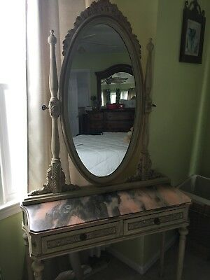 Antique marble Dressing Vanity With Mirror