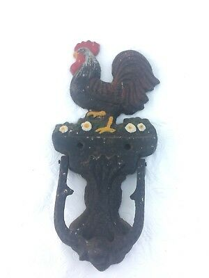 "VTG Antique Cast Iron Rooster Door Knocker Farm House Country 7.5"" x 3.5"""