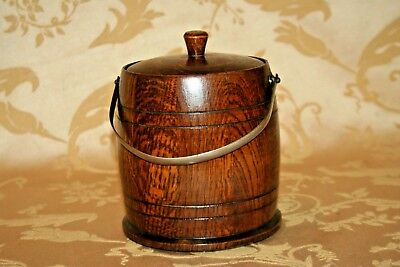 "Antique English Small 6x7"" Lidded Oak Wooden Biscuit Barrel Cookie Jar w/ Handle"
