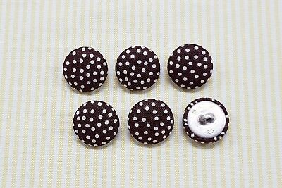 6 Dark Brown with White Dots Fabric Covered Buttons - 20mm